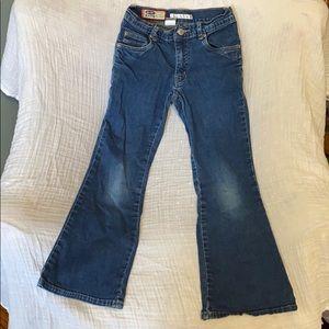 Blue jeans flare leg